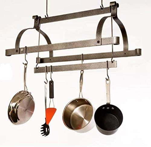 Metal Hanging Pot Rack 18 Hooks 3 Bars Hand Hammered Steel Made in USA