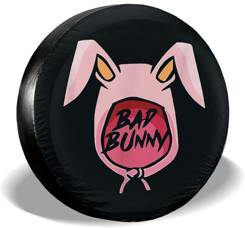 Hiemycop Bad Bunny Spare Tire Cover Trailer Accessories, Universal Tire Cover for Jeep Trailer SUV (14, 15, 16, 17 Inches)