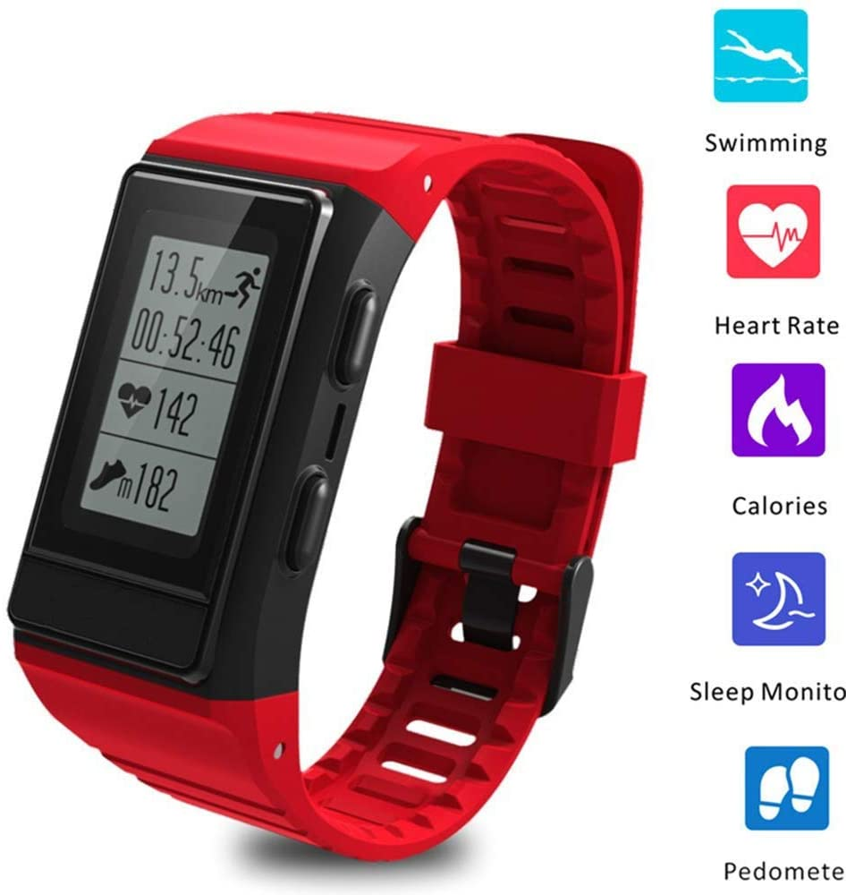 ZDMSEJ Smartband with Heart Rate Clock Sleep Monitor GPS Bluetooth Fitness Tracker Intelligent Watch (Color : Red)