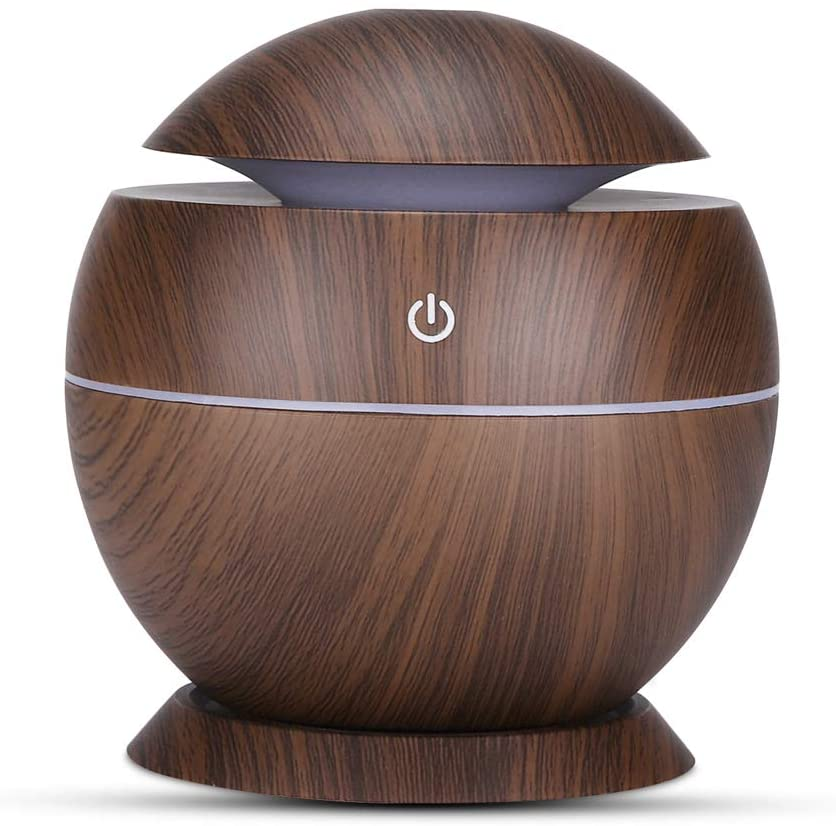 Blusea Ultrasound Aroma Diffuser, Mute USB Air Humidifier, Essential Oil Aromatherapy Machine with Seven-Color Light for Home Bedroom Office, 130ml