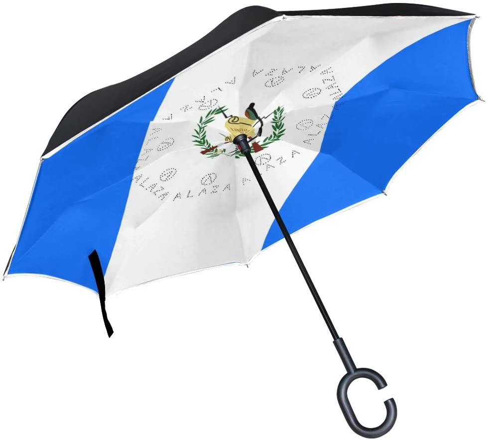 Chinein Double Layer Inverted Umbrellas Reverse Folding Umbrella Windproof UV Protection for Car Guatemala Flag