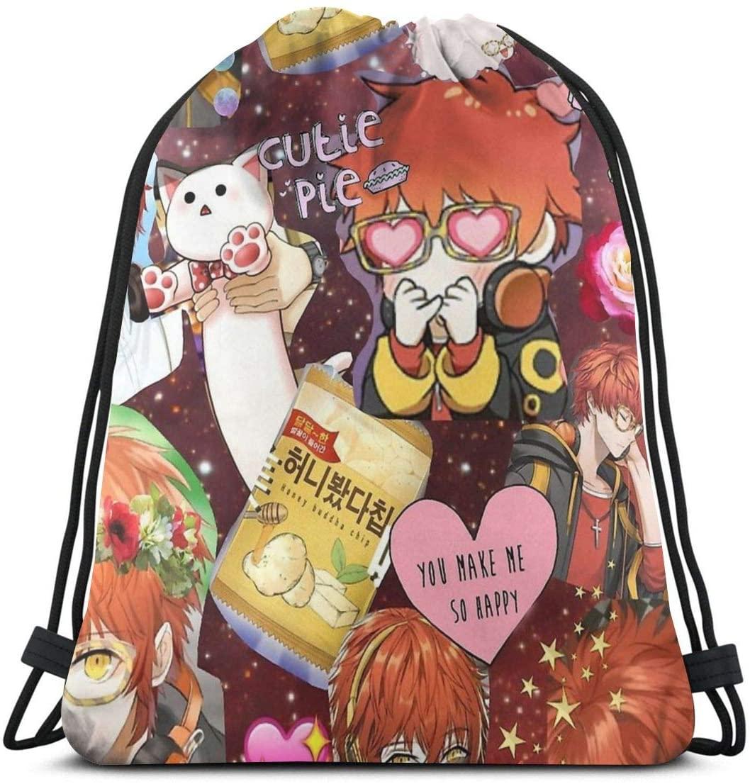 Mystic Messenger-707 Waterproof Foldable Sport Sackpack Gym Bag Sack Drawstring Backpack