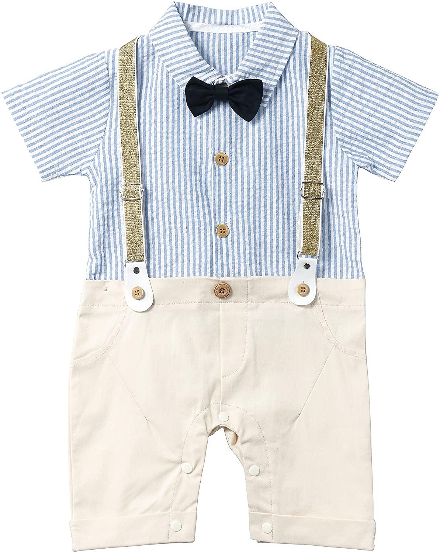 HMD Baby Boy Gentleman White Shirt Bowtie Tuxedo Onesie Jumpsuit Overall Romper(0-18M) …