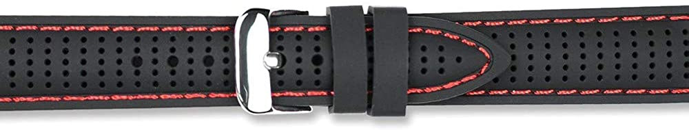 Sonia Jewels 18mm Black Red Ventilated Silicone Silver-Tone Buckle Watch Band 8