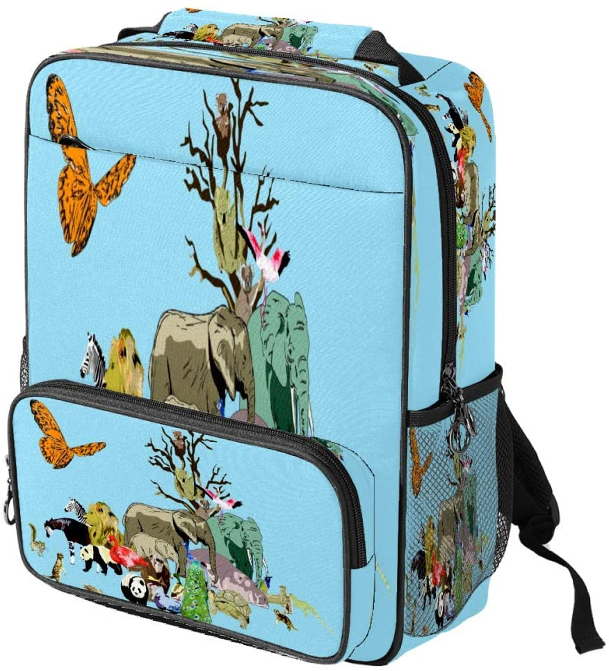 Casual School Backpack Zoo Animals Peacock Lion Hippo Print Laptop Rucksack Multi-Functional Daypack Book Satchel