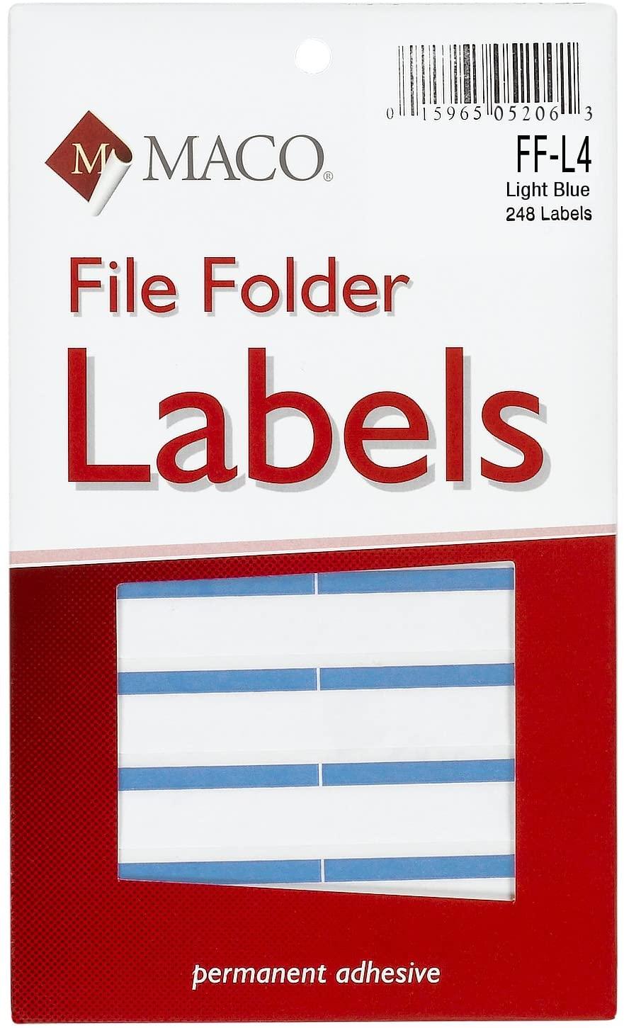MACO Light Blue File Folder Labels, 9/16 x 3-7/16 Inches, 248 Per Box (FF-L4)