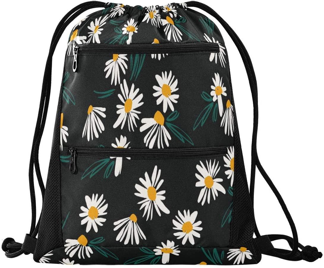 Drawstring Backpack Sport Gym Sackpack - Floral Drawstring Bag with Zipper Pocket Gym Sack Pack Sport Backpack for Hiking Dance