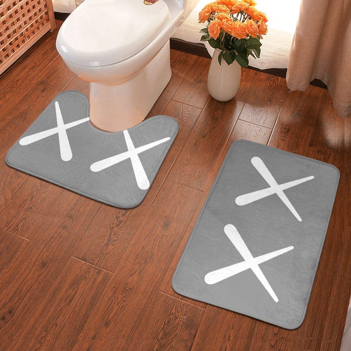 KAWS Bathroom Antiskid Pad Non-Slip Bath Carpet Floor Mat Rug 2 Sets -Floor Mat+U-Shaped Pad, Toilet Washable Blanket Mats for Bathroom Home Shower