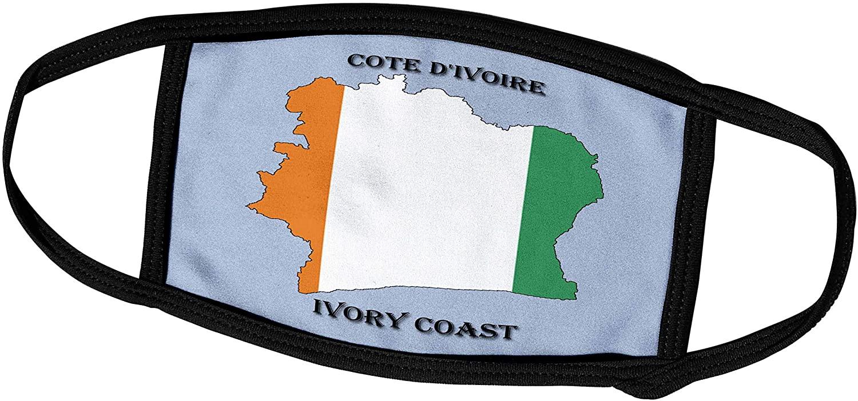 3dRose Sandy Mertens Flags of The World - Flag of Ivory Coast Map - Face Masks (fm_211300_2)