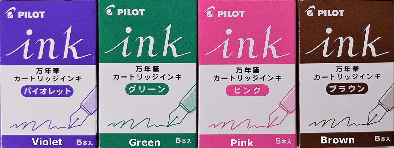 Pilot fountain pen ink 5pcs cartridge 4 colors set (Green, Violet, Pink, Brown)