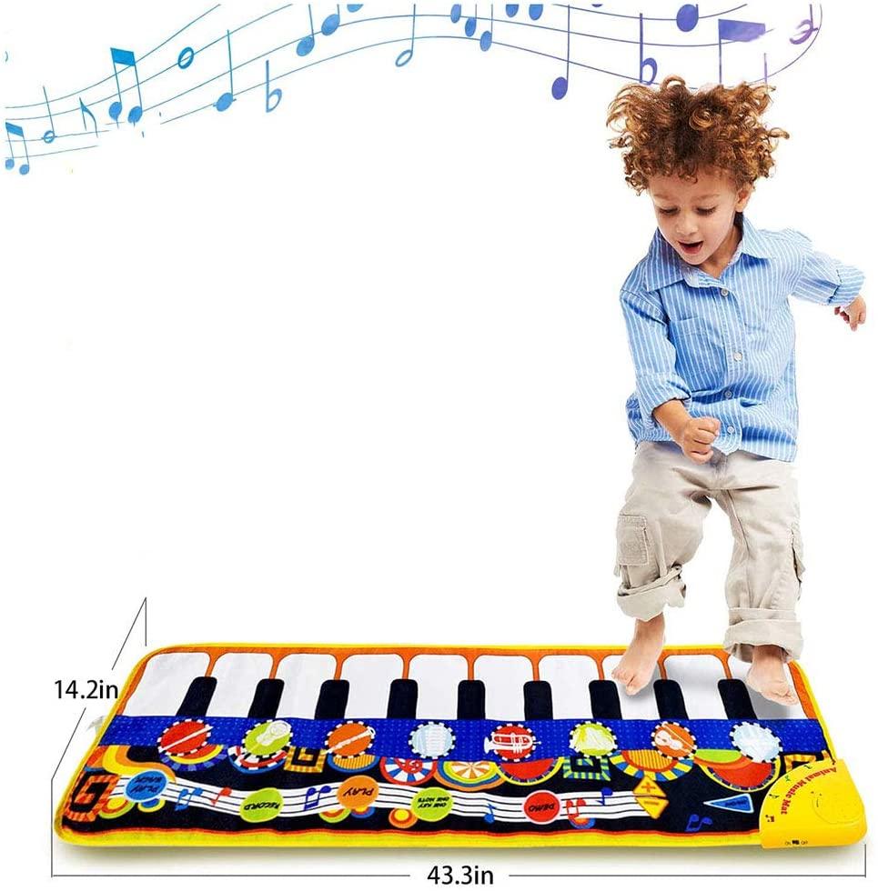 LUSHUN Piano Mat Musical Mat Anti-Skid Piano Keyboard Play Mat Portable Early Educational Toys with Record, Playback, Demo, Play, Adjustable Vol Mode