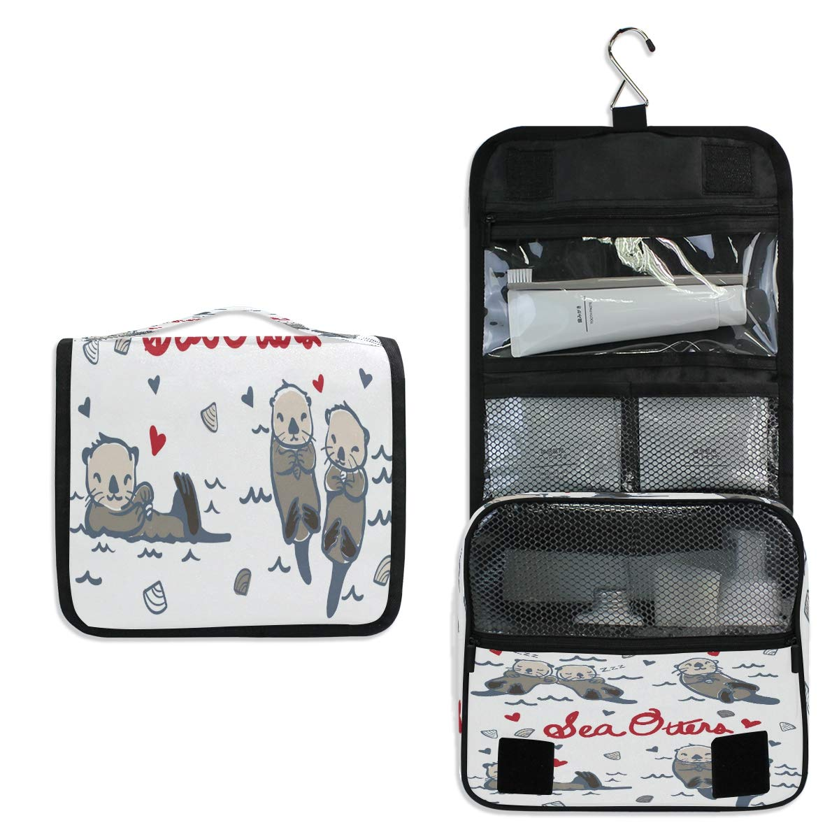Hanging Toiletry Bag, Hand Drawn Sea Otters Waterproof Quilted Wash Gargle Bag Portable Travel Bathroom Shower Bags Deluxe Large Makeup Brush Case Capacity Pouch for Men and Woman