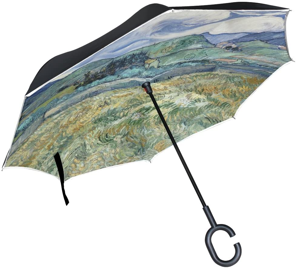 Vipsk Reverse/Inverted Vincent Van Gogh Art Painting Double-Layer Waterproof Straight Umbrella Self-Standing & C-Shape Handle & Carrying Bag for Free Hands, Inside-Out Folding for Car Use