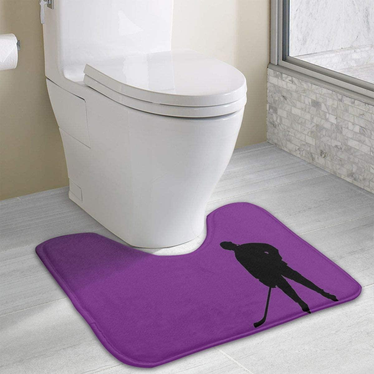 Bathroom Rug, Ice Hockey U-Shaped Non Slip Absorbent Toilet Bath Floor Contour Doormat Shower Mat Carpet 19.3 X 15.7 Inch