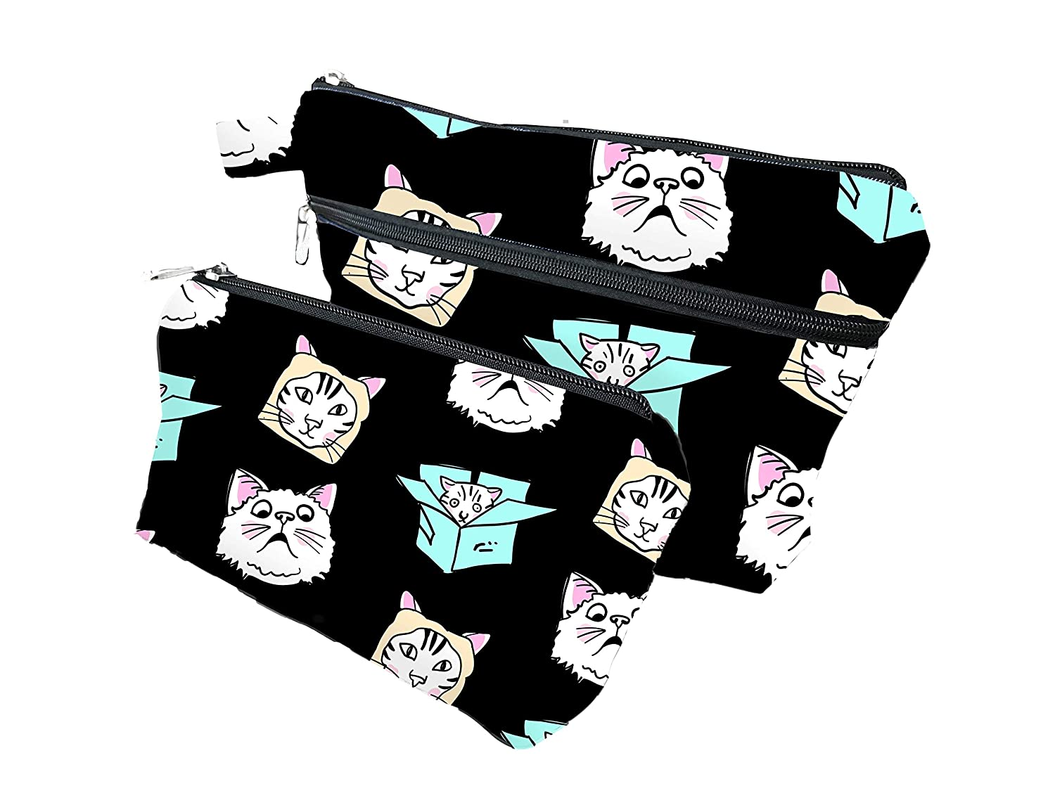 Cats Zippered Pouches for Women and Men - Enhanced Bottom For Maximum Storage - Pencil Cases for Adults - Makeup Bags - Multipurpose Tool Bags With Strong Zippers And Compartments (Pack of 2)