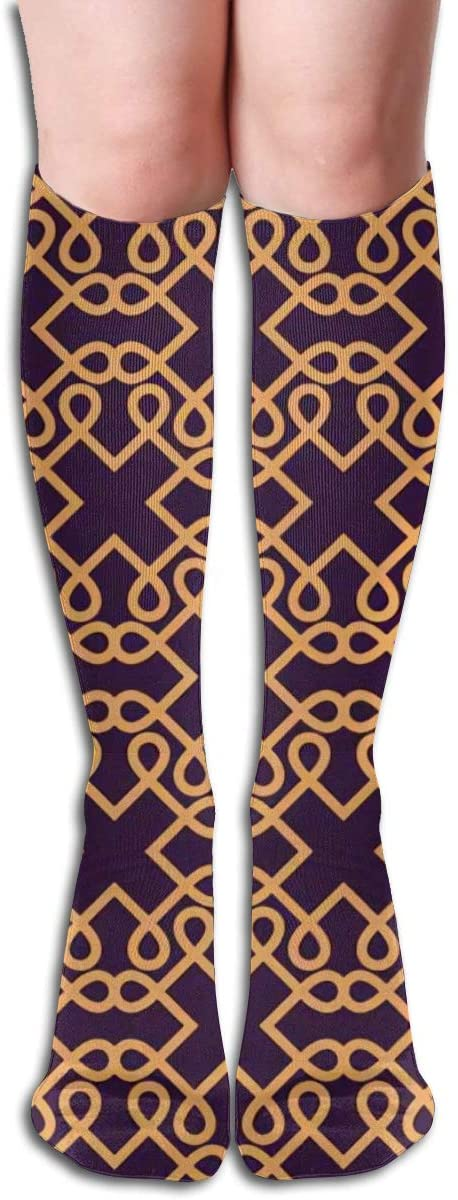 Linear Stylish,Geometric Striped,Design Elastic Blend Long Socks Compression Knee High Socks (50cm) for Sports