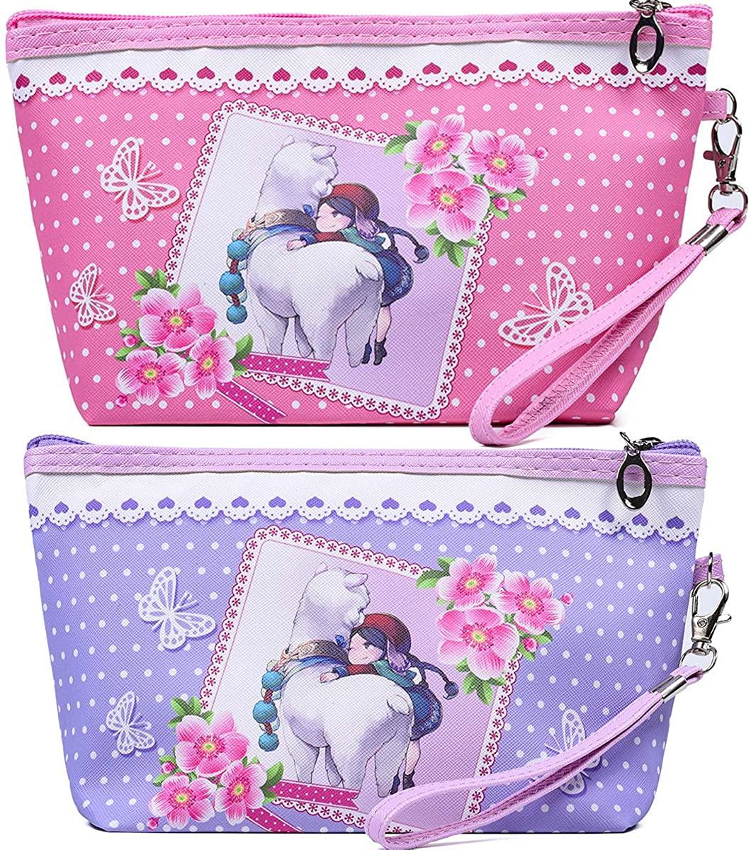 2pcs Travel Makeup Handbag, Waterproof Cosmetic Bags Portable Makeup Organizer Clutch Bag, Cute Portable Cosmetic bag Purse Toiletry Pouch for Women Teen Girls Kids