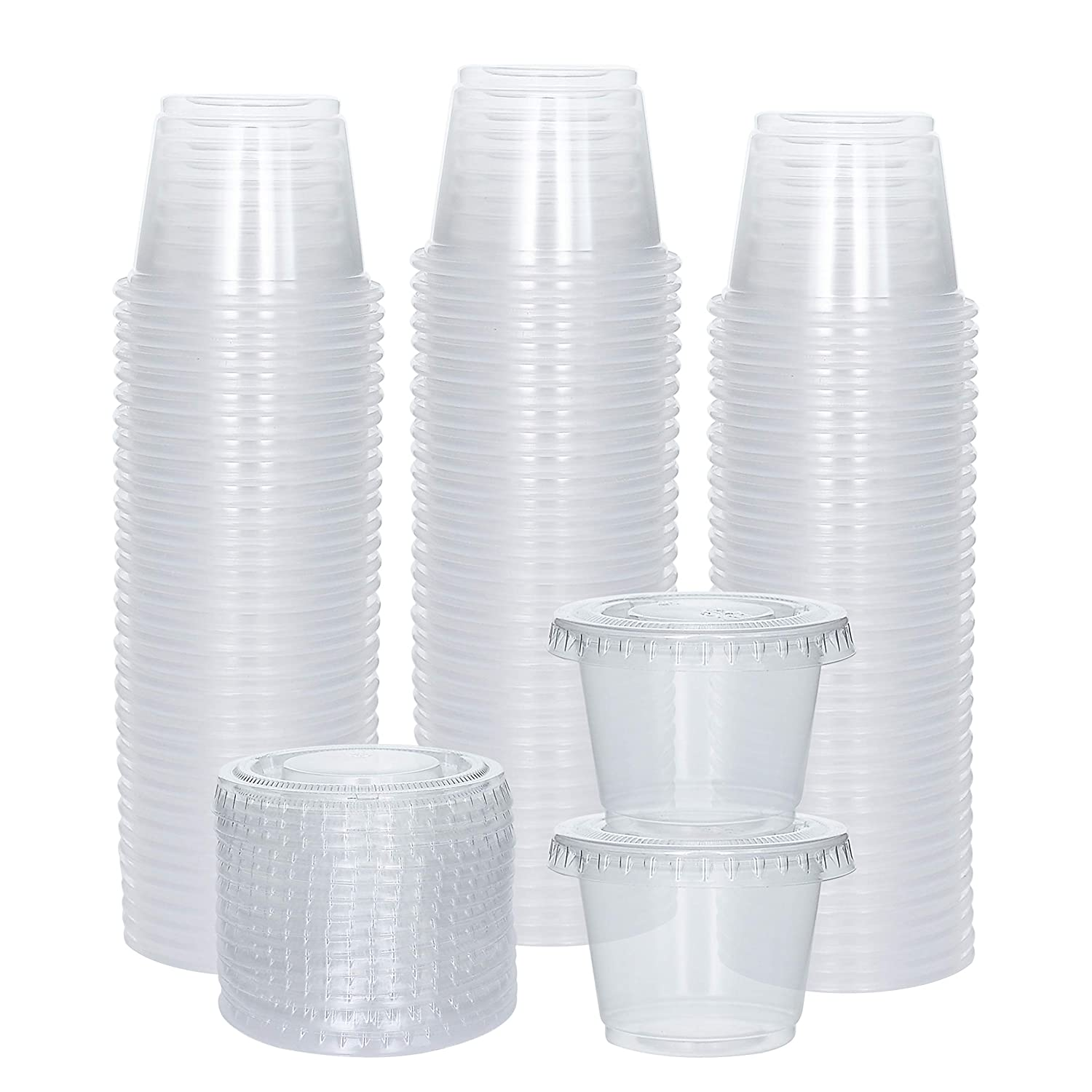 [100 Sets] 1 oz Small Plastic Containers with Lids, Jello Shot Cups, Disposable Portion Cups, Souffle Cups