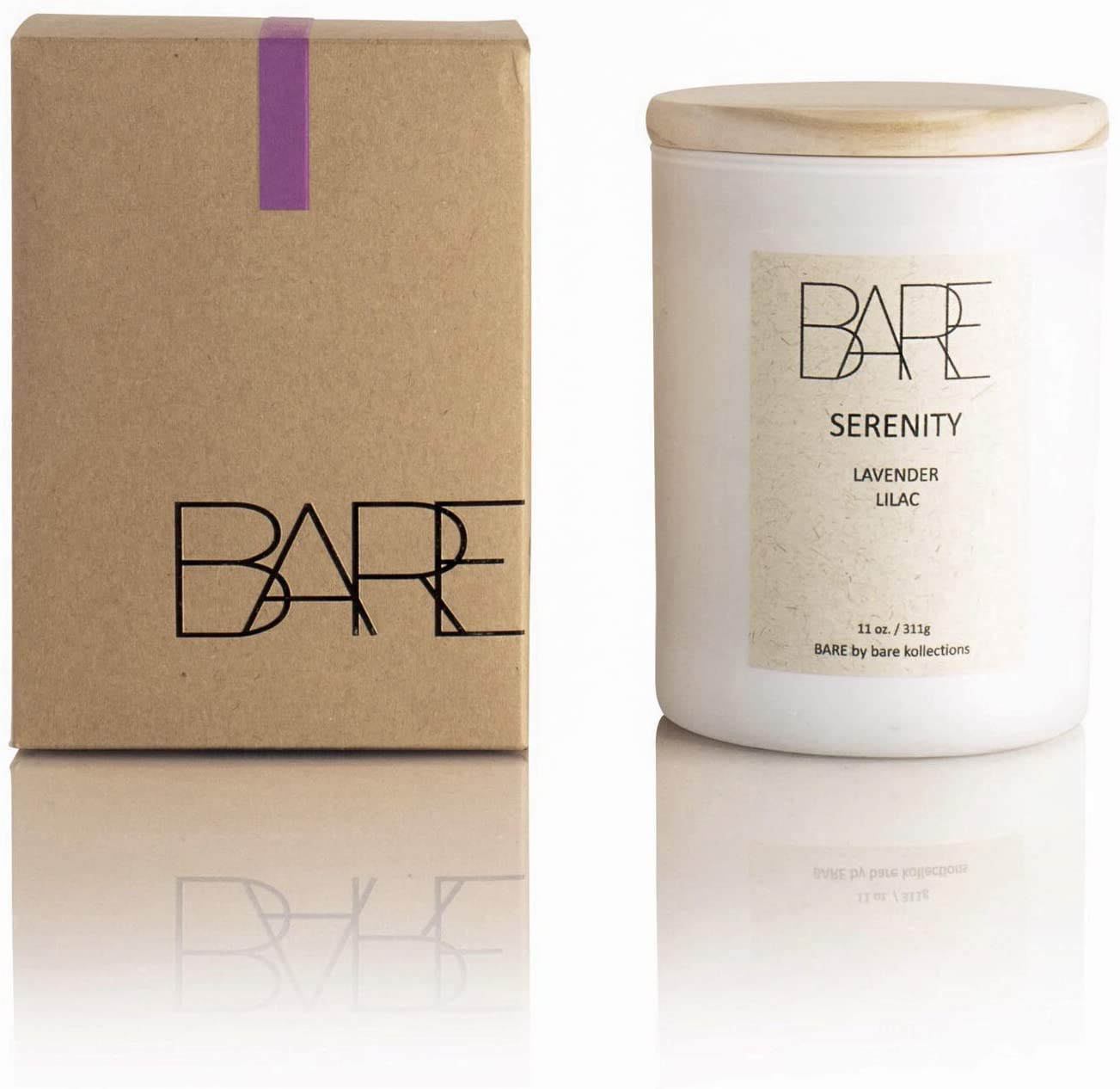 BARE KOLLECTIONS Serenity Lilac Scented Candle, 11 oz. - Large All-Natural Coconut Soy Candle, Stress Relief, Long Burn Time, Made in USA