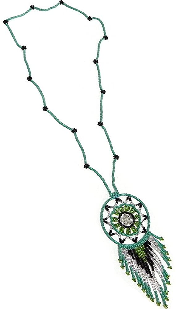 Mia Jewel Shop Round Seed Bead Dream Catcher Beaded Dangle Pendant Long Floral Necklace