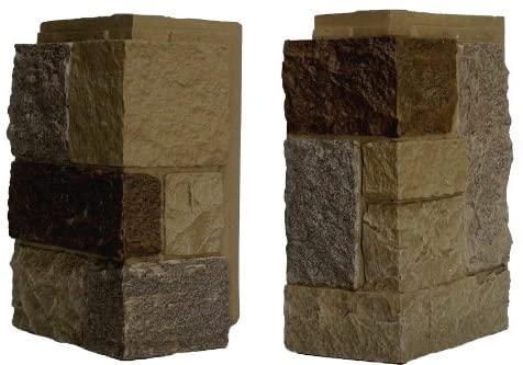 NextStone Polyurethane Faux Stone Interlocking Outside Corner � Castle Rock � Windsor Buff (4 Corners per Box)