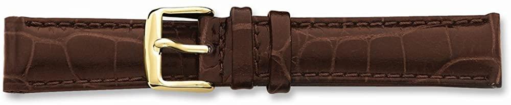 Sonia Jewels 14mm Brown Croco Chrono Gold-Tone Buckle Watch Band 6.75