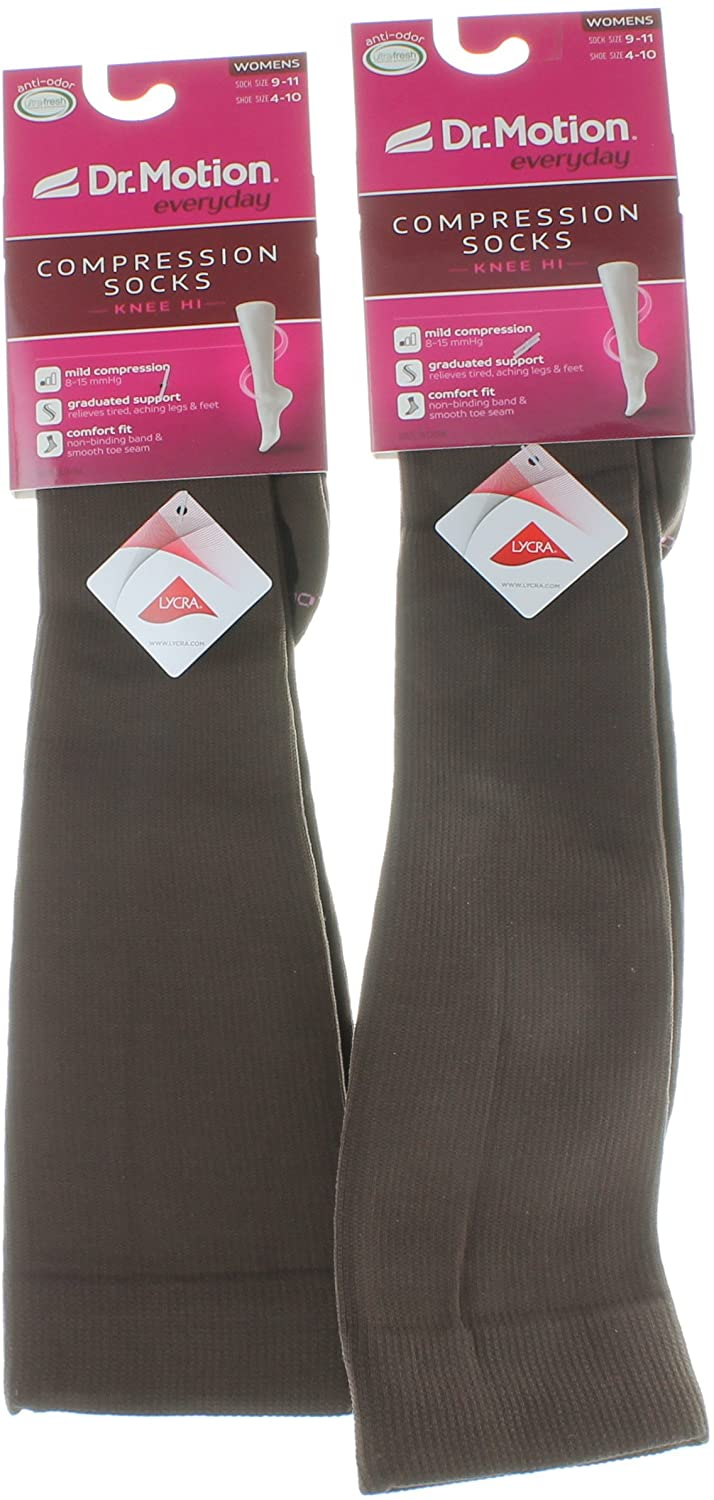 2 Pairs Dr. Motion Brown Compression Knee-Hi Women's Socks Size 9-11