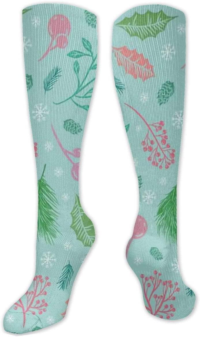 Compression Sock for Women & Men,The First Frosts Rowan Berries Cedar CasualLongKneeHighTubeSocksforRunnning,SoccerAthleticSports,Travel-50cm