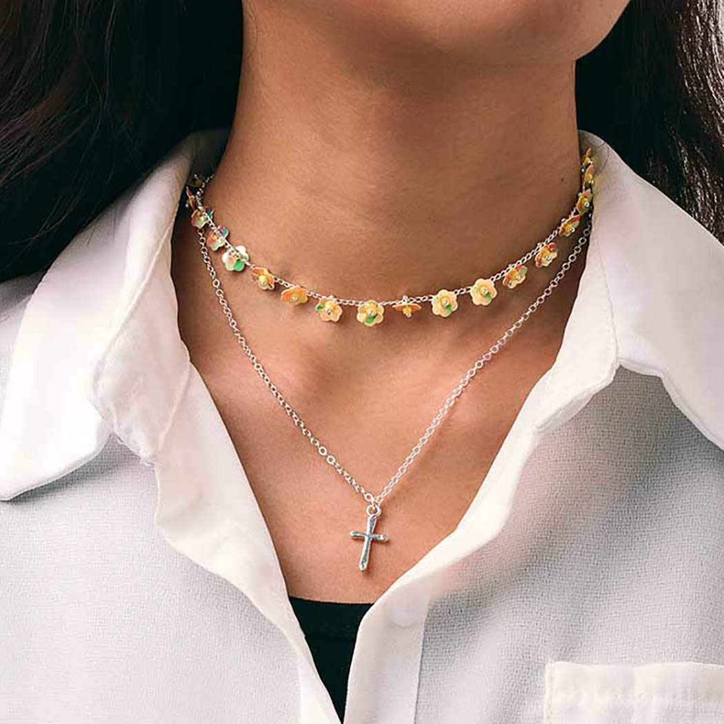 Aetorgc Boho Layered Necklace Chain Pendant Necklaces Yellow Flower and Beads Necklace Jewelry for Women and Girls (Silver Cross)