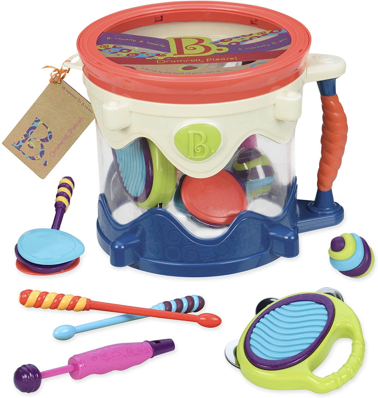 Battat 70.1446 Drumroll Please 7 Musical Instruments Toy Drum Kit for Kids 18 Months + (7-Pcs), Multi-Colour