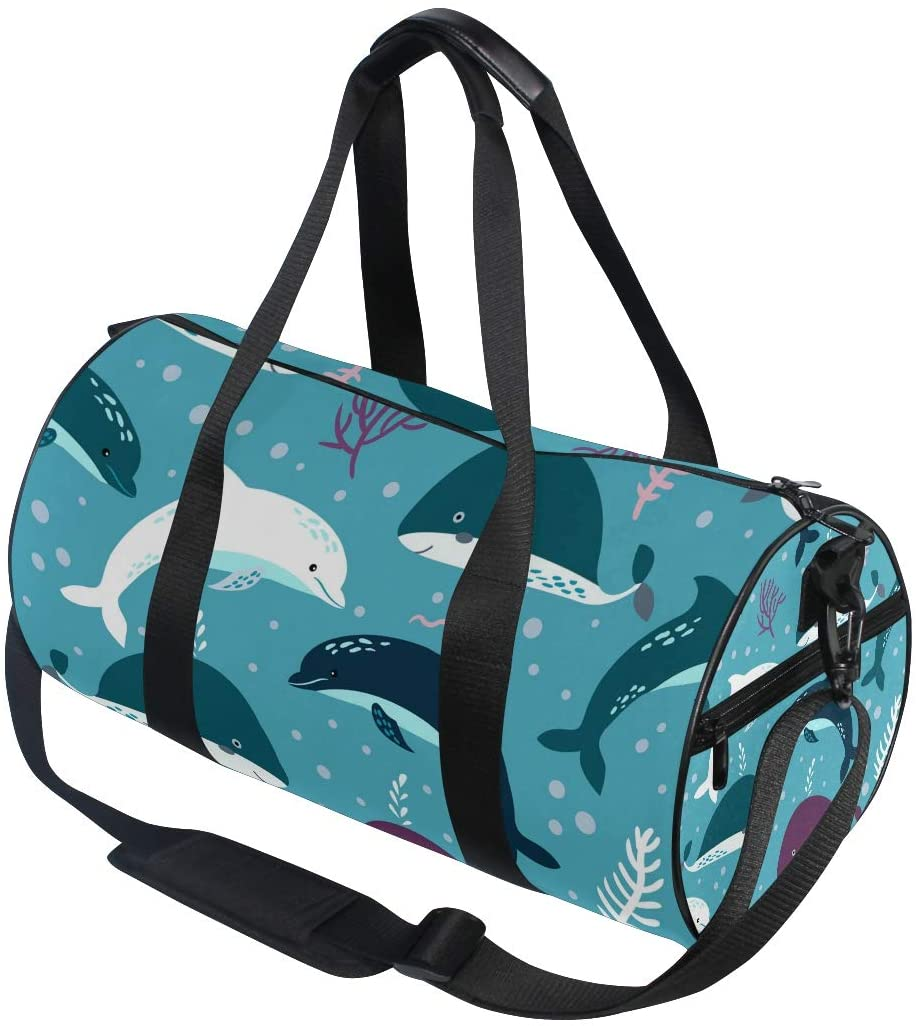 Vdsrup Whale Dolphin Sports Bag Blue Seaweed Animals Gym Duffel Bag Compact Travel Luggage Totes Bag with Carry Crossbody Shoulder For Weekender Men Women Girls Boys Basketball Yoga School