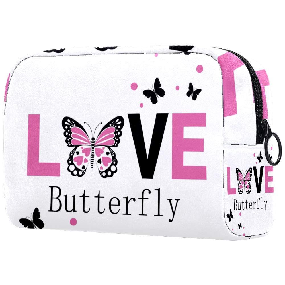 Inhomer Love Butterfly Makeup Bag Toiletry Bag for Women Skincare Cosmetic Handy Pouch Zipper Handbag