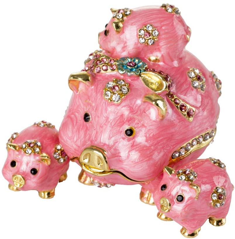 SEVENBEES Four Pink Pigs Figurines Jewelry Trinket Boxes for Ring Holder
