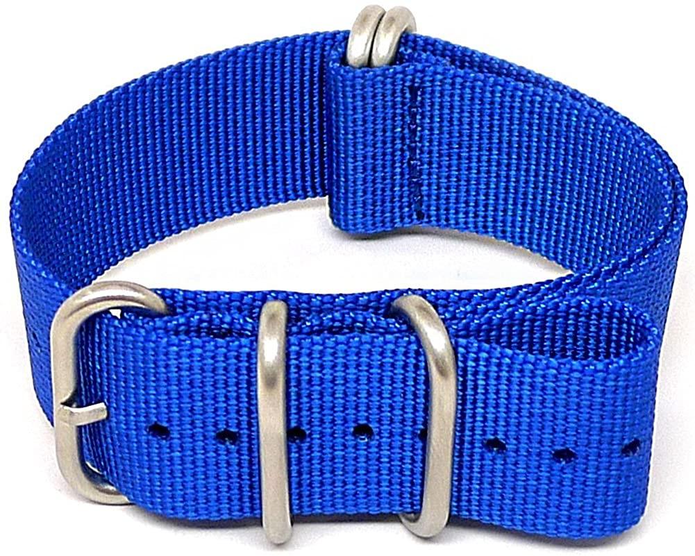 DaLuca Ballistic Nylon Military Watch Strap - Blue (Matte Buckle) : 24mm