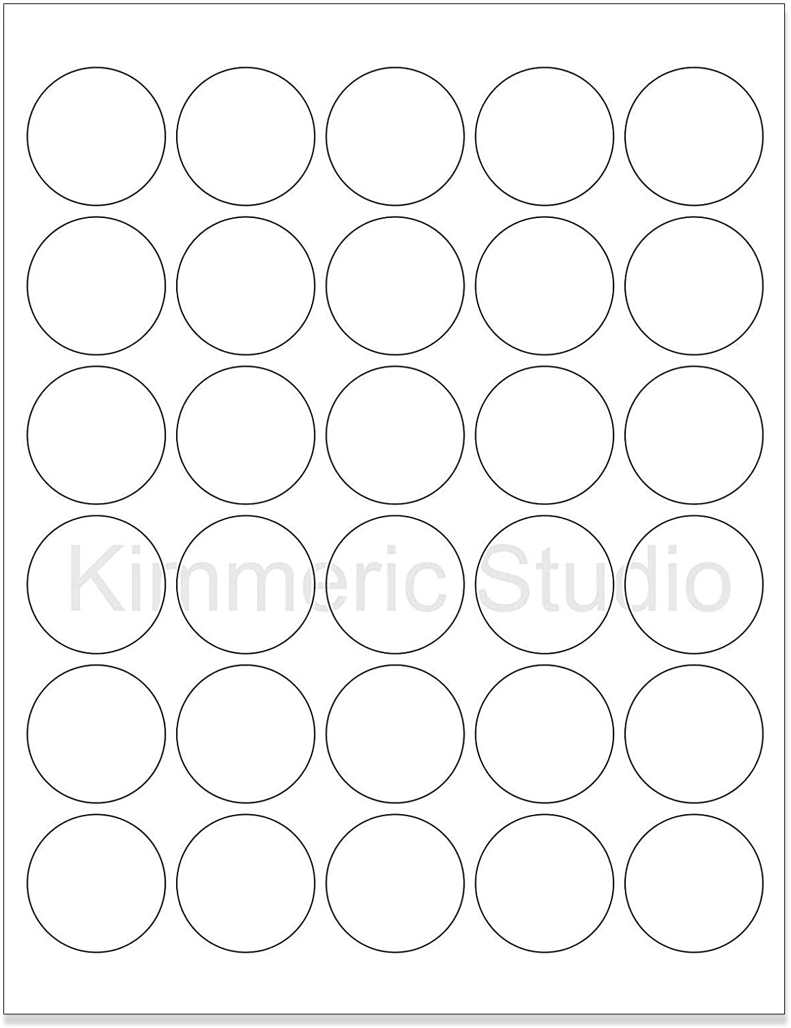 (6 SHEETS) 180 1-1/2 INCH ROUND CIRCLE WHITE GLOSSY STICKERS FOR LASER PRINTERS. Size: 8-1/2
