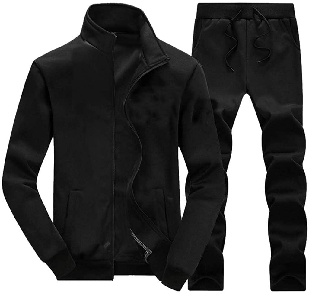 WINJUD Mens Tracksuit Autumn Winter Suit Set Full Zip Jogging Running Sportswear Tops Pants Sets
