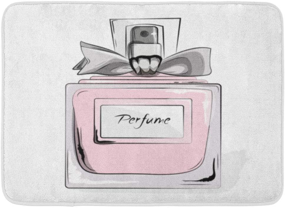 Emvency Doormats Bath Rugs Outdoor/Indoor Door Mat Haute Couture Watercolor Perfume Pink Bottle in Woman Glamour Beauty Aroma Liquid Cosmetic Fragrance Bathroom Decor Rug Bath Mat 16 x 24