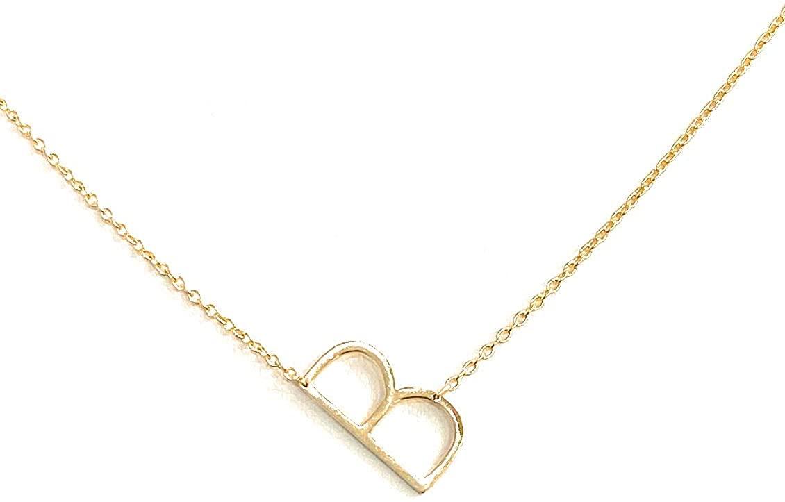 Gold Over Sterling Silver Sideways Letter Necklace, 16