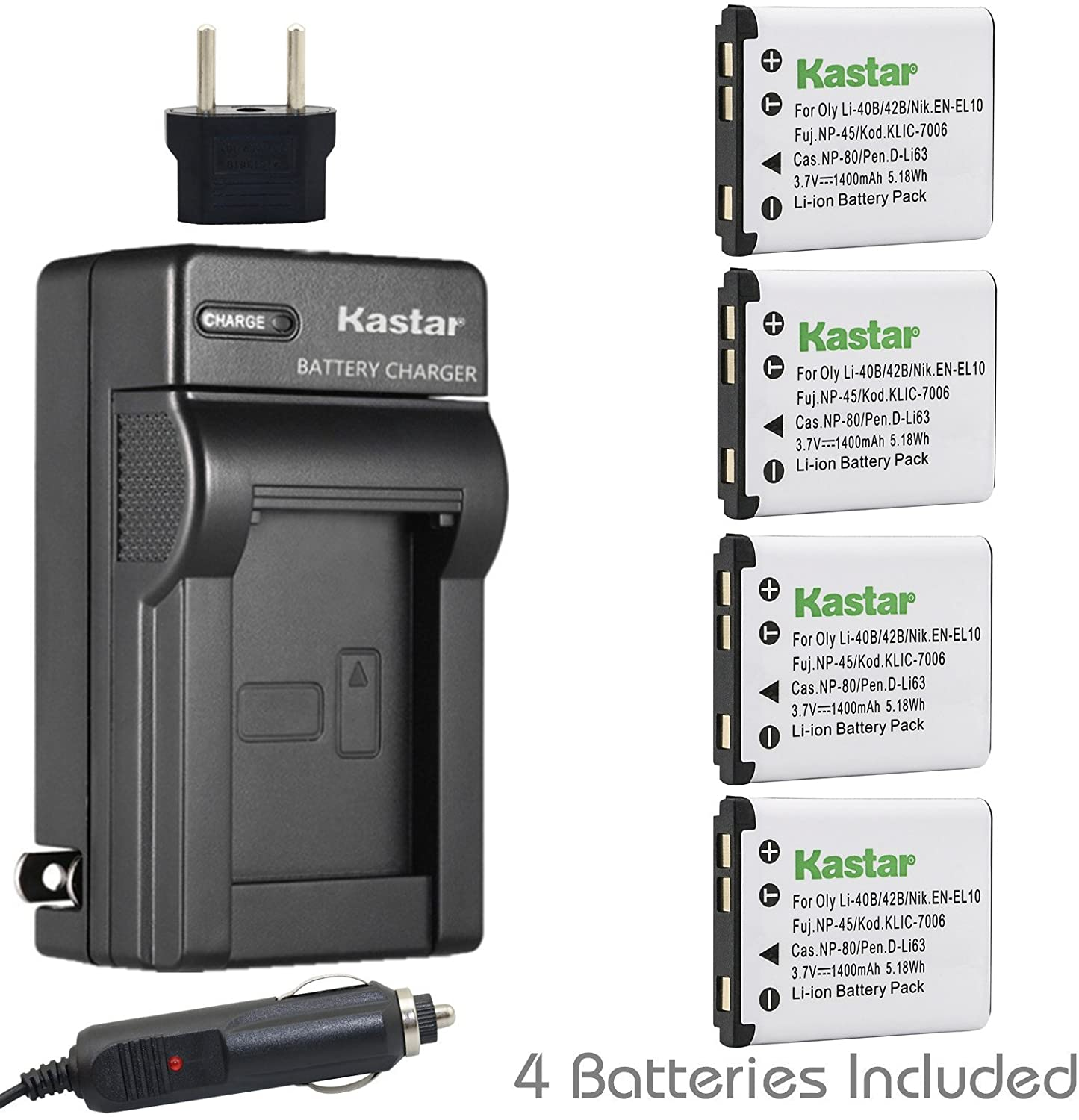 Kastar Battery 4x and Charger for Kodak KLIC-7006, Kodak EasyShare M22, M23, M200, M522, M530, M531, M532, M550, M552, M575, M577, M580, M583, M750, M873, M883, M5350, M5370, MD30, Mini, Touch Digital