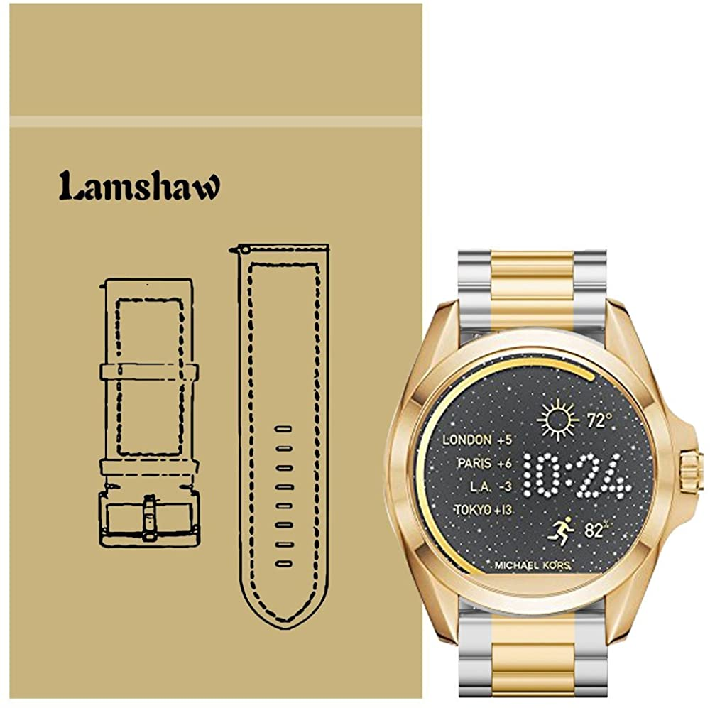 for Michael Kors Access Bradshaw Bands, Lamshaw Stainless Steel Metal Replacemet Straps for MK Access Touchscreen Bradshaw Smartwatch (Metal-Silver-Gold)