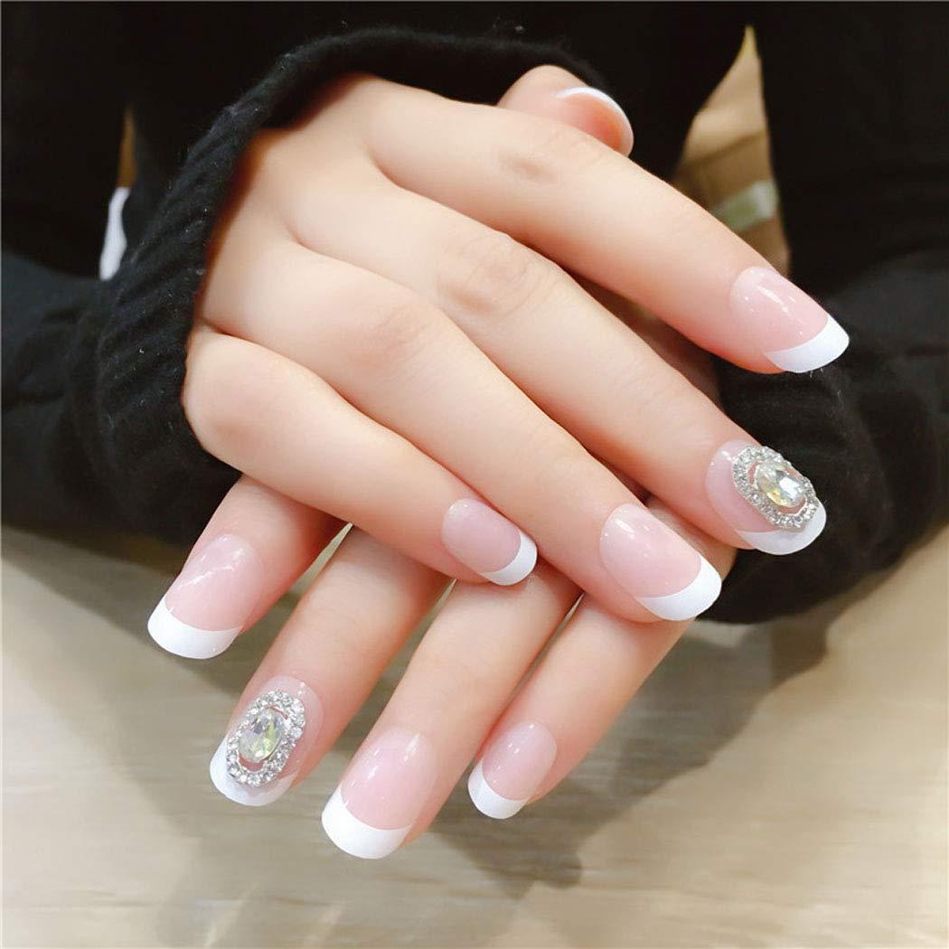 Jovono Glossy Press on Nails Pink Short Square Fake Nails Artificial Full Cover False Nails for Women and Girls (24Pcs)