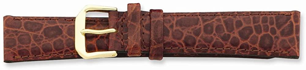 Sonia Jewels 14mm Havana Alligator Grain Leather Gold-Tone Buckle Watch Band 6.75