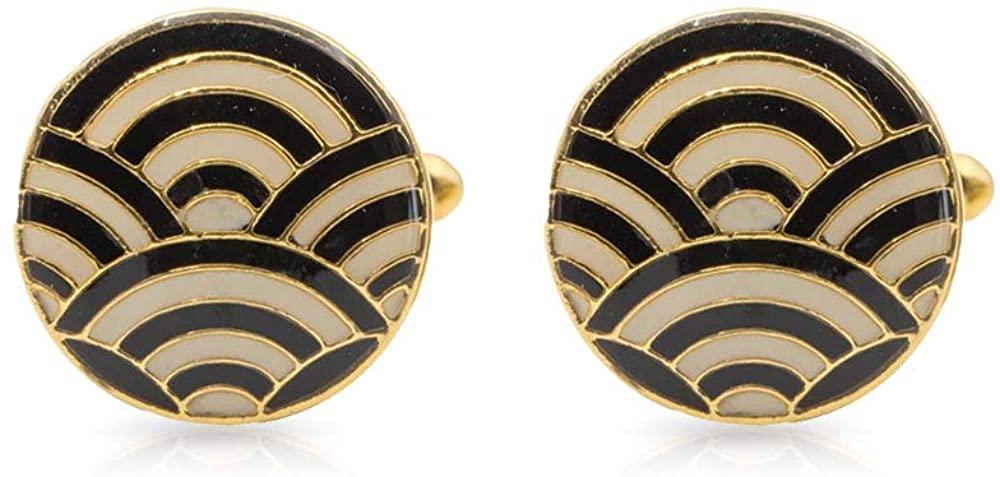 Rosec Jewels Enamelled Groomsmen Brass Cufflinks, Him Unique Cascade Black Ivory Cufflinks, Art Deco Gold-Plated Groomsman Cufflinks, Husband Anniversary Cufflinks