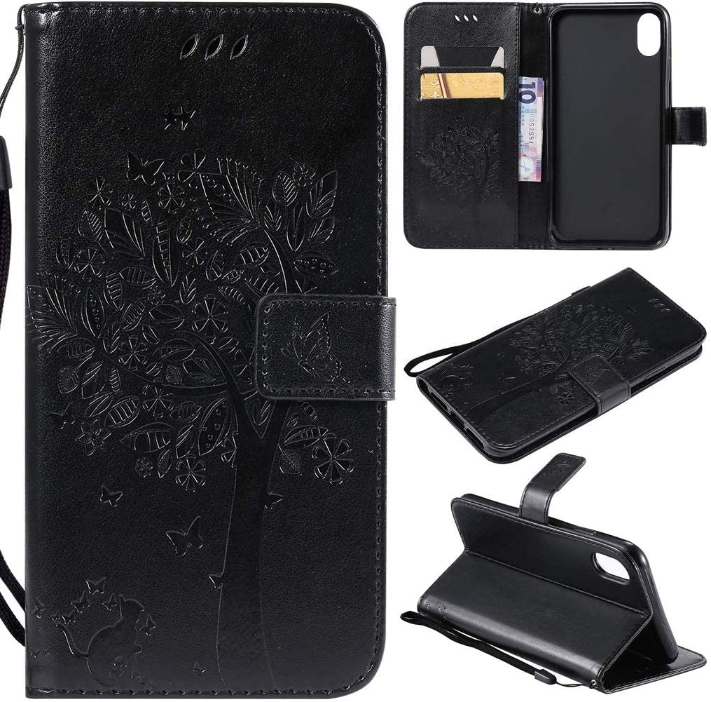 Ogmuk Fashion Premium Black Emboss Tree Cat Butterfly Flowers Strap Case for Girly Women Stand Lovely Stylish Kickstand Credit Cards Slot Cash PU Leather Flip Wallet Case for iPhone 6 Plus/6S Plus