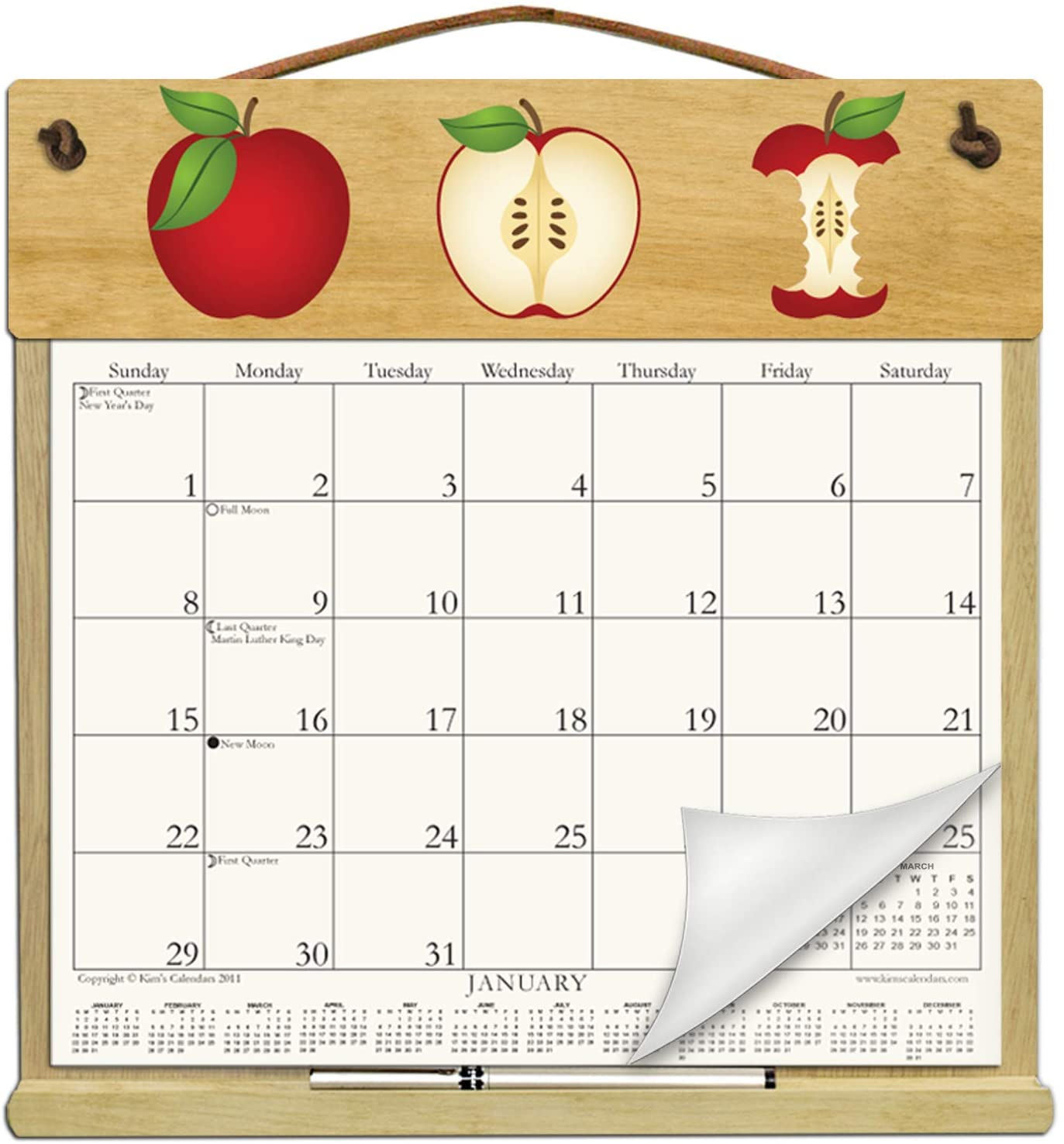 Wooden Refillable Calendar Holder Filled with 2020 & 2021 and Includes an Order Form Page for 2022-APPLES