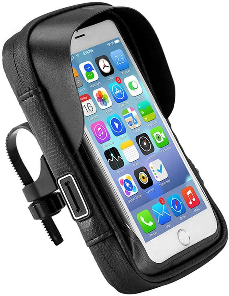 AMAZOM Bike Phone Bag - Waterproof Bicycle Cycling Phone Mount Pack with Touch Screen Sun Visor Phone Case for Cellphone Below 6.5''