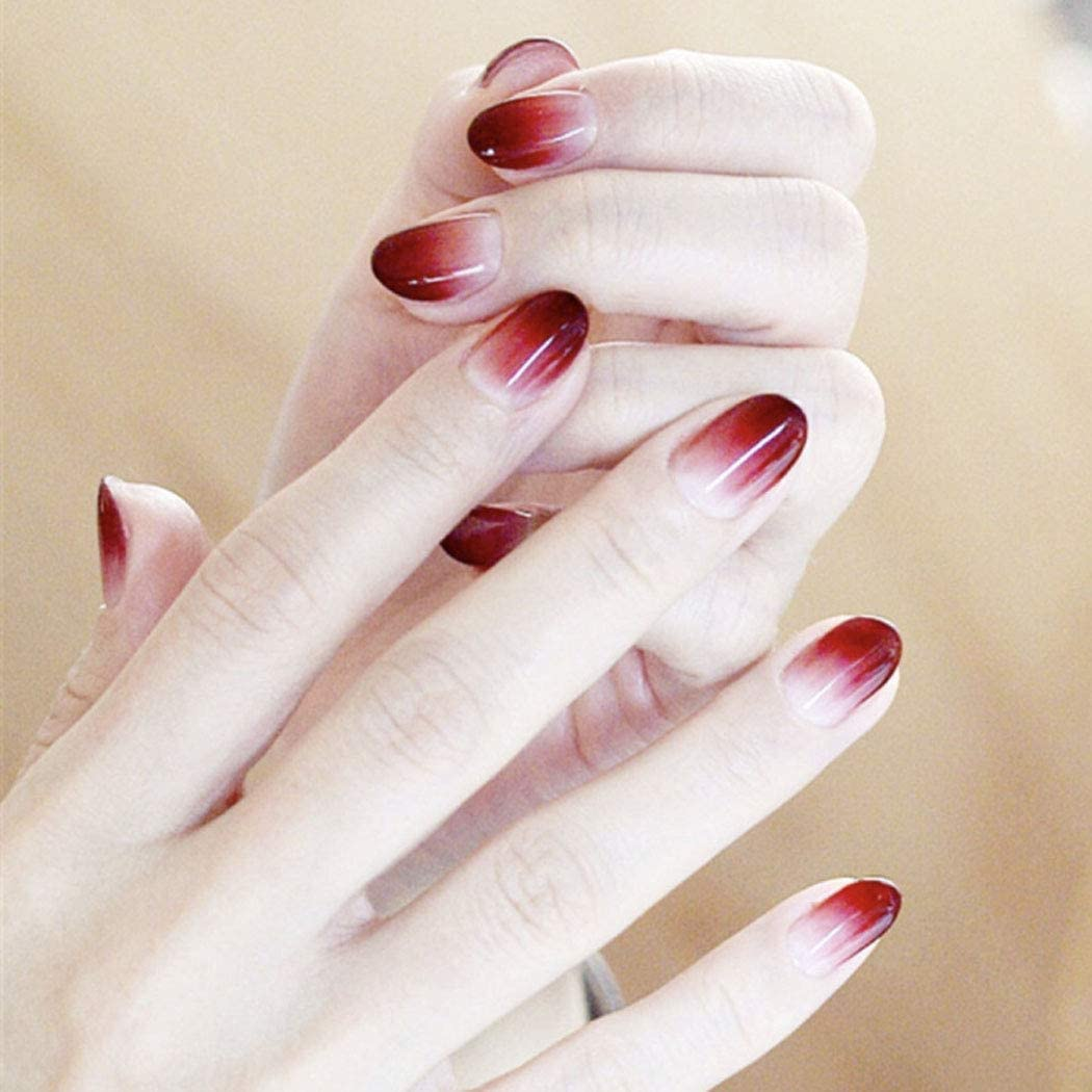 Jovono 24PCS False Nails Artificial Nails for Women and Girls Round Head Gradient Fake Nails (Dark Red)
