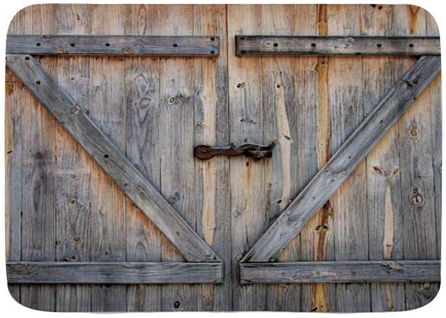 WINCAN Bath Mat Rug,Rustic Barn Door Wooden Barnwood Farmhouse Vintage,Plush Bathroom Decor Mats with Non Slip Backing,29.5