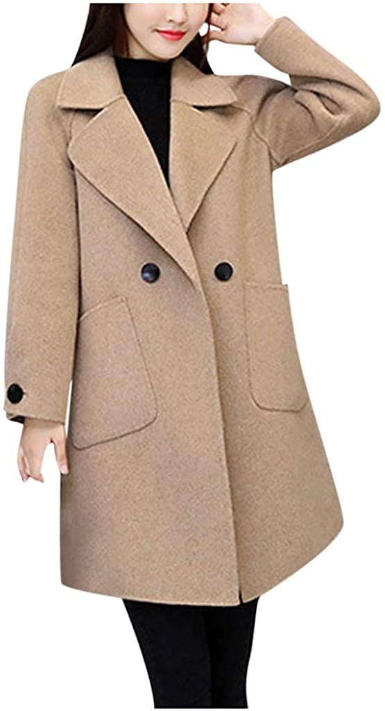 Winter Woolen Jackets Coats for Women Long-Sleeved Notched Collar Trench Coat Slim Button Pockets Windbreaker Medium Long