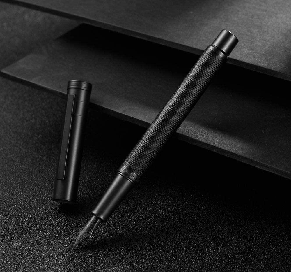 Hongdian 1850 Essential Black Metal Chiselled Aluminum Body Fountain Pen (Black Forest, Fine Nib 0.5mm)